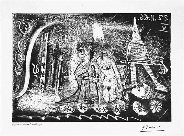 au theatre: femme decapitee par un bourreau, et viellard, from the 60 series, 22 november 1966, v, mougins by pablo picasso