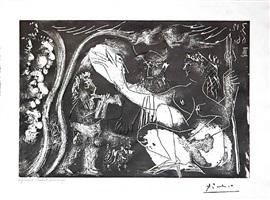 au theatre: couple avec un flutiste et un petit chien, from the 60 series, 3 december 1966, iii, mougins by pablo picasso