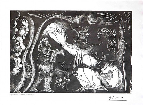 au theatre: couple avec un flutiste et un petit chien, from the 60 series, 3 december 1966, iii, mougins by pablo picasso