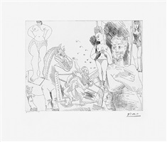 cirque et catch, from the 347 series, 11 april, 1968, mougins by pablo picasso