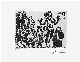 celestine, maja, et grotesques, from the 347 series, 8 july, 1968, mougins by pablo picasso