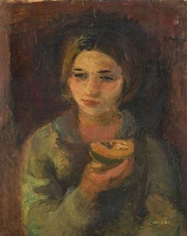 jeune fille dégustant un melon by rajmund kanelba