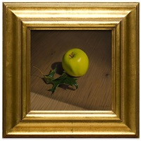 green apple and oak leaf by jeremiah stermer