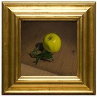 green apple and oak leaf by jeremiah stermer