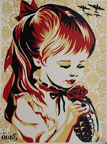 war by numbers (gold) by shepard fairey