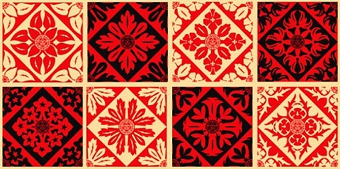 floral pattern (set of 8 pieces) by shepard fairey