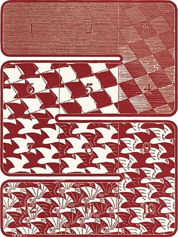 regular division of the plane (metamorphosis) by m. c. escher