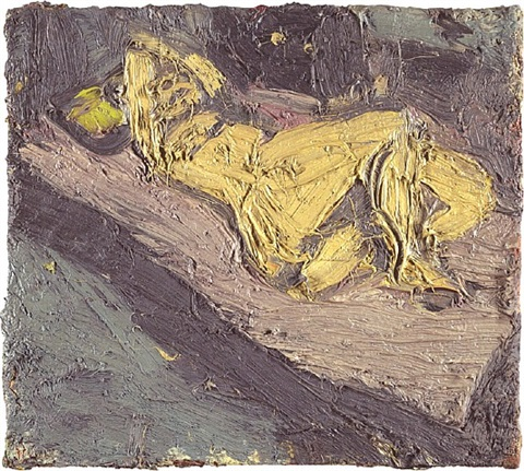 nude on red bed no. 1 by leon kossoff