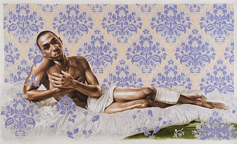 untitled (down study with bullet) by kehinde wiley
