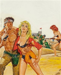 escape from the nazis, men's adventure magazine cover, december 1967 by norman eastman