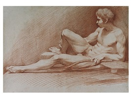 academic study of a male nude by louis claude vassé