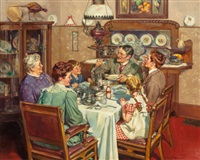 a good table is an american tradition, ladies home journal interior illustration by harold n. anderson
