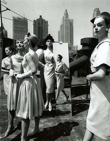 evelyn, isabella, nena + mirrors, new york (vogue), 1962 by william klein