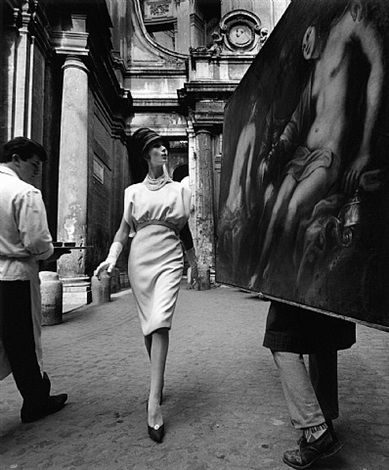 simone + painting + coffee, rome 1962 by william klein