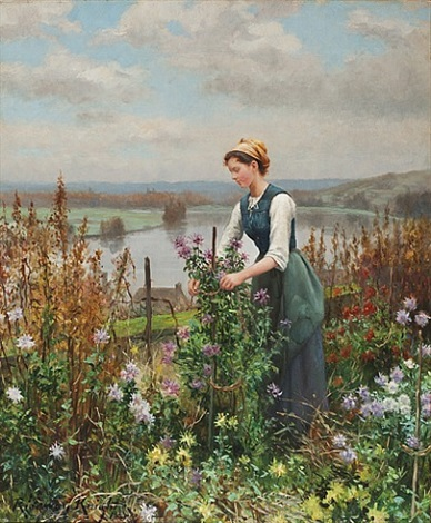 gardening by the river by daniel ridgway knight