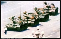 a lone man stops a column of tanks near tiananmen square, 1989 beijing, china by jeff widener