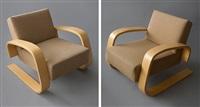 pair of tank lounge armchairs by alvar aalto for artek by alvar aalto