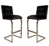 milo baughman chrome bar stools, circa 1970's by milo baughman