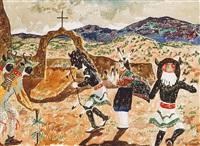 pueblo dancers at church gates by theodore van soelen