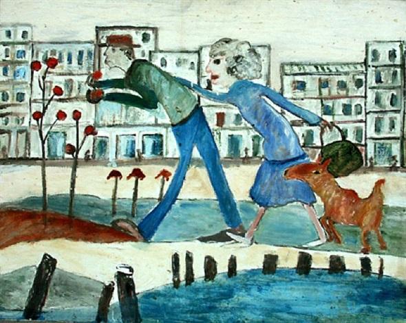 man, woman and dog at beach by jon serl