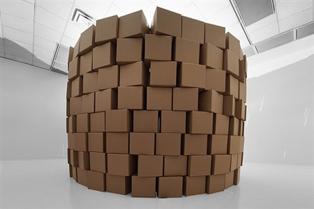236 prepared dc-motors, cotton balls, cardboard boxes 41x41x41 cm by zimoun