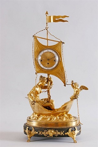 "empire mantel clock ""aphrodite and amor"" / empire kommodenuhr ""aphrodite und amor"" by straub"