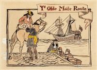 ye old maile route, advertisements (two works by arthur rackham
