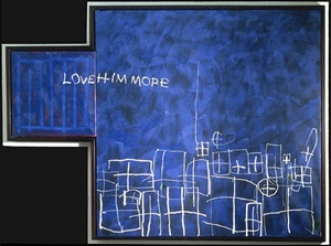 marks on a blue field (love him more) by brian clarke