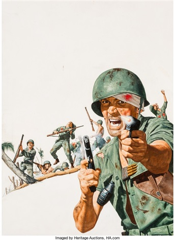 Storming the Beach, probable magazine interior illustration