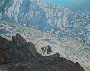 untitled (hunter on horseback in the mountains) by roy kerswill