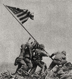 raising the flag on iwo jima by joe rosenthal