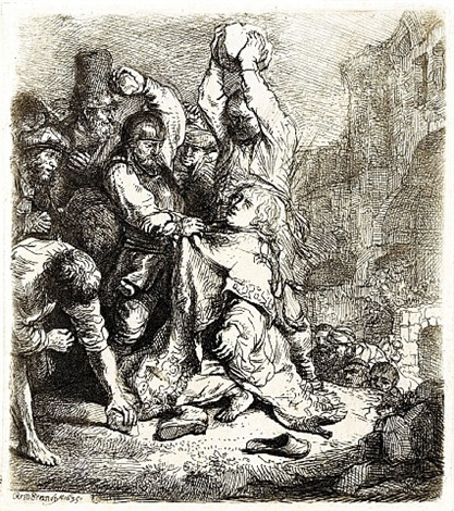 the stoning of st. stephen by rembrandt van rijn