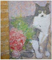 cat with roses by ruskin spear