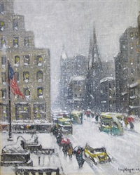 at the library, winter by guy carleton wiggins