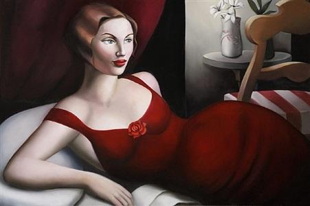 reclining woman in crimson by rachel deacon