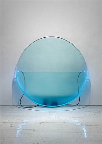 lit circle blue with etched glass by keith sonnier