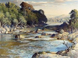 the rock-girt pools of spean by samuel john lamorna birch