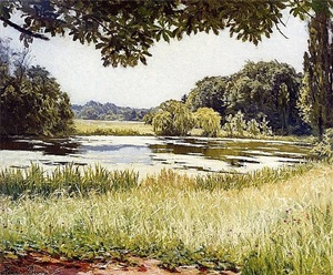 a river scene in france by henri biva