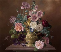 roses, hollyhock, poppies in an ornamental jug by harold clayton