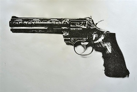 elvis tcb gun (black and white) by russell young