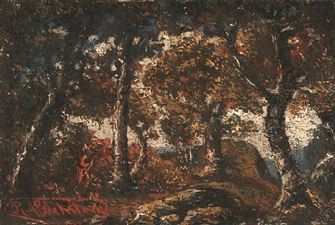 indian in an autumnal landscape by ralph albert blakelock