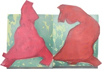 untitled (red figure, diptych) by ivor abrahams