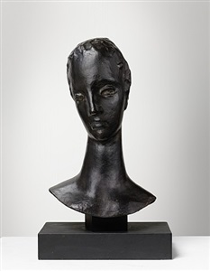 head of large pensive woman (girl's head on slender neck) by wilhelm lehmbruck