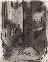 one seated and one standing figure by robert de niro, sr.
