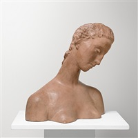 inclined female head (bust of kneeling woman) by wilhelm lehmbruck
