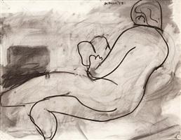 reclining figure reading a book by robert de niro, sr.