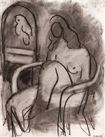 seated female nude with a parrot by robert de niro, sr.