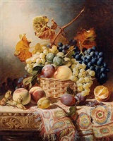 still life with a basket of fruit on a table with a rug by william duffield