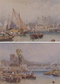 the tower of london from the thames & putney bridge by myles birket foster