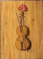 a trompe l'oeil of a violin and a violin bow hanging from a red silk ribbon on by claes bellekin